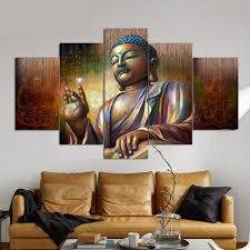 5pcs group framed bronze copper buddha canvas paintings frames