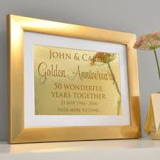 50 year anniversary gift golden 50th wedding annivesary gifts and ideas