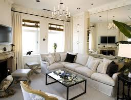 Shabby Chic Interior Designers Living Room Mirrored Wall Panel Idea Feat L Shaped Sofa In