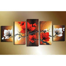Abstract Home Decor White Red Flower Oil Painting