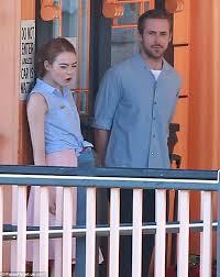 ryan gosling emma stone couple film emma stone joins ryan gosling on set of la la land daily mail online