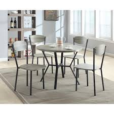 crown mark blake 5 piece dining set with round table in gray wood
