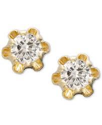 children s 14k gold earrings children s 14k gold earrings diamond stud 1 8 ct t w