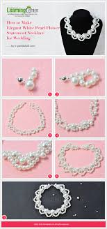 elegant white pearl necklace images Tutorial on how to make elegant white pearl flower statement jpg