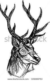 draw deer zentangle style stock vector 484337668