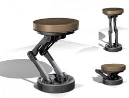 scifi adjustable mechanical bar stool rigged free 3d model