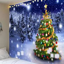 christmas tree snow night forest printed wall tapestry colorful
