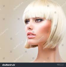 haircut hairstyle beautiful model short blond stock photo