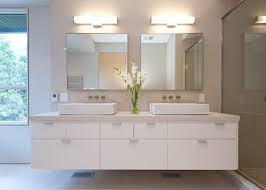 white floating bathroom vanity with top and coloured lacquer