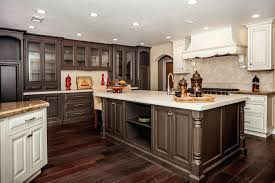 dark wood and white combination cupboards kitchen cabinets floors