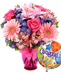pink delight bouquet congratulations at from you flowers