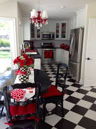 Kitchen Accent Furniture My Fun And Unique Black And White Kitchen With Red Accents And A