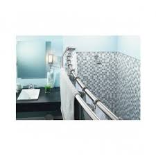 Curved Tension Shower Curtain Rods Double Shower Rod Curved Bar Chrome Dual Curtain Liner Towel Bath