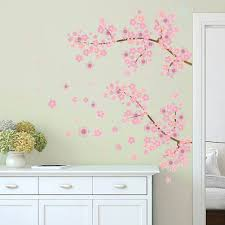 online get cheap tree wall art sticker aliexpress com alibaba group pink cherry blossoms tree romantic garden diy home decal wall sticker girls bedroom wall art tv