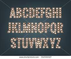 alphabet light bulbs glowing font shiny stock vector 552550327