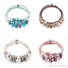 double charm bracelet images High quality pandora style double leather bracelets 925 silver big jpg