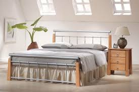 Beech Bed Frame Ontario Bed Frame Beech And Metal Bed Frame