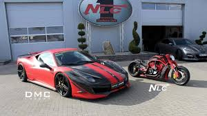 modified ferrari customized ferrari 458 italia and matching bike showcased at top