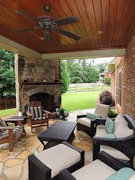 Covered Patio Ideas For Backyard by Cozy Covered Patio With Outdoor Fireplace Outdoorspaces Patios