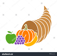 cornucopia horn plenty thanksgiving basket flat stock vector