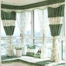 Green And Beige Curtains Decorative Bay Window Curtains In Beige And Green Color With