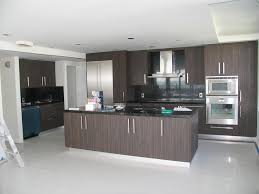 Dark Brown Kitchen Cabinets Beautiful L Shape Modern Style Kitchen Features Orange Color