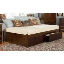 bedroom brown stained wooden queen size daybed with storage