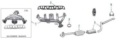 jeep wrangler exhaust systems 1997 2006 jeep tj complete exhaust system mufflers gaskets