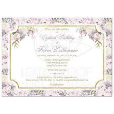 80th birthday invitation blush pink white gold rose floral
