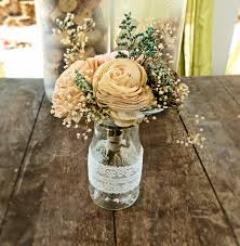 affordable country wedding table decorations at rustic wedding