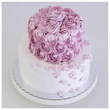 two tiered 2d rosette and hydrangea buttercream cake tartas