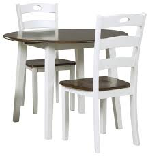 Drop Leaf Table And Chairs Signature Design By Ashley Woodanville 3 Piece Round Drop Leaf