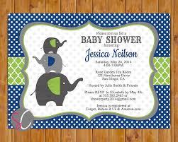 navy blue lime green elephant family baby shower invitation