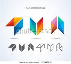 creative digital letter colorful icons element stock vector