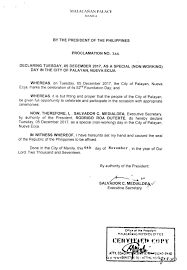 nonworking philippine holiday special non working day in palayan city on