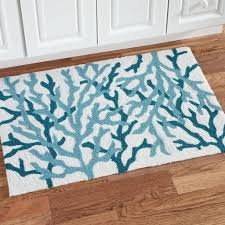 Rugs With Teal Kitchen Unique Teal And White Kitchen Rug With Root Design