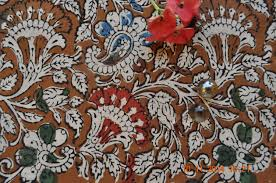 Indian Curtain Fabric Vegetable Dyed Kalamkari Floral Print Hand Printed Thick Cotton