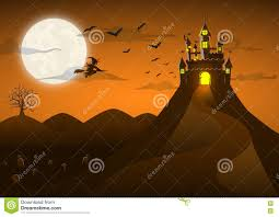 halloween background witch moon spooky ghost castle on the hill with full moon stock vector