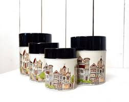 Square Kitchen Canisters by Kitchen Canister Set Etsy