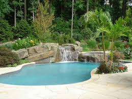Waterfall Design Ideas Backyard Swimming Pool Designs Tropical Backyard Swimming Pool
