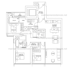 3 floor plan marina one residences floor plan
