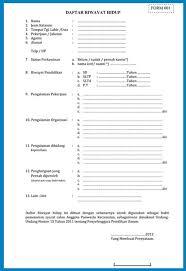 form daftar riwayat hidup pdf nationwide resumes help to buy for movers download borang resume