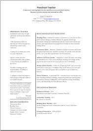 Example Resume For Teacher 28 Sample Resume For Preschool Teacher Aide Preschool