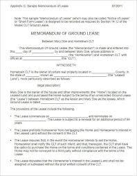 land lease agreement template memorandum of lease agreement 4 sles of memorandum of