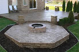 Concrete Fire Pit by Creative Concrete Patio Designs With Fire Pit On Interior Decor