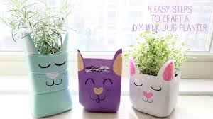 how to make a milk jug planter craft for kids youtube