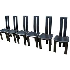 6 Black Dining Chairs Suite Of 6 Black Dining Chairs Pietro Costantini 1970s Design