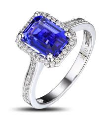 antique 1 50 carat emerald cut blue sapphire and diamond halo