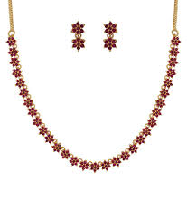 red stone gold necklace images Kushi red traditional wedding engagement gold plated ruby stone jpg