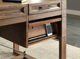 realspace dawson 60 computer desk hickory creek 60 inch writing desk with power center in vintage with
